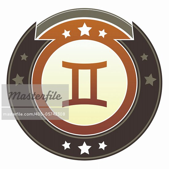 Gemini zodiac astrology icon on round red and brown imperial vector button with star accents suitable for use on website, in print and promotional materials, and for advertising. Stock Photo - Royalty-Free, Artist: lhfgraphics                   , Code: 400-05742308
