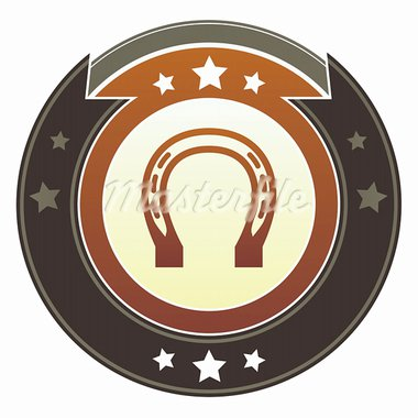 Horseshoe, luck, rodeo, or Western icon on round red and brown imperial vector button with star accents Stock Photo - Royalty-Free, Artist: lhfgraphics                   , Code: 400-05742336