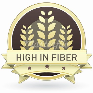 High in fiber food label, badge or seal with brown and tan color and wheat or grain emblem in vector style Stock Photo - Royalty-Free, Artist: lhfgraphics                   , Code: 400-05742379