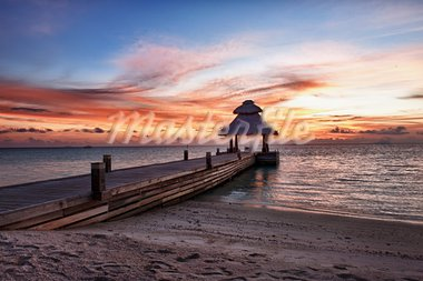 Awsome vivid sunset over the jetty in the Indian ocean, Maldives. HDR Stock Photo - Royalty-Free, Artist: Fyletto                       , Code: 400-05742447