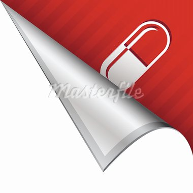 Pharmaceutical pill capsule icon on vector peeled corner tab suitable for use in print, on websites, or in advertising materials. Stock Photo - Royalty-Free, Artist: lhfgraphics                   , Code: 400-05742547