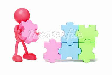 Red faceless figurine working on jigsaw puzzles Stock Photo - Royalty-Free, Artist: Design56                      , Code: 400-05742664