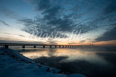 Oresund bridge viewed from land in sunset Stock Photo - Royalty-Free, Artist: Multiart                      , Code: 400-05742856
