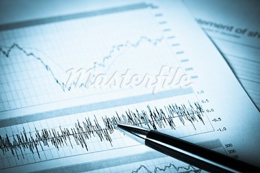 Business graphs with the pen on it Stock Photo - Royalty-Free, Artist: DashaPetrenko                 , Code: 400-05743042