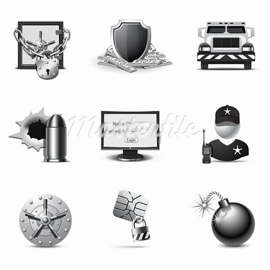 Bank security icons | B&W series Stock Photo - Royalty-Free, Artist: popcic                        , Code: 400-05743176