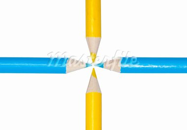 blue and yellow pencils arranged in a cross isolated on white Stock Photo - Royalty-Free, Artist: sijohnsen                     , Code: 400-05743316