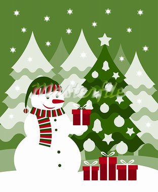 vector snowman, christmas tree and gifts, Adobe Illustrator 8 format Stock Photo - Royalty-Free, Artist: beta757                       , Code: 400-05743838
