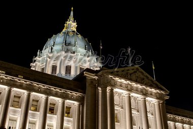 San Francisco City Hall against Dark Night Sky at Civic Center Historic District in California Stock Photo - Royalty-Free, Artist: jpldesigns                    , Code: 400-05743842