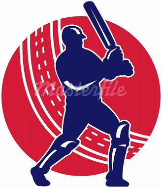illustration of a cricket batsman batting front view with ball in background done in retro style Stock Photo - Royalty-Free, Artist: patrimonio                    , Code: 400-05743872