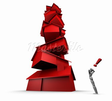 Super high resolution GI raytrace of 3D mannequin staring at tall stack of red houses.   Stock Photo - Royalty-Free, Artist: eyeidea                       , Code: 400-05744200