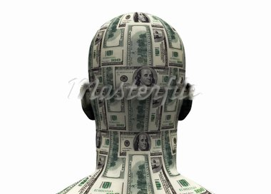 3D render of back of human head made of $100 bills.   Stock Photo - Royalty-Free, Artist: eyeidea                       , Code: 400-05744246