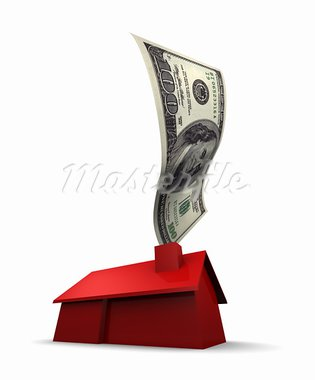 3D illustration of a red house with a U.S. 100 dollar bill coming out of the chimney. 3D illustration isolated on white background.   Stock Photo - Royalty-Free, Artist: eyeidea                       , Code: 400-05744267