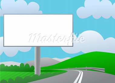 Advertising billboard on country road. Sunny day, green hills and blue sky. Stock Photo - Royalty-Free, Artist: lkeskinen                     , Code: 400-05744550
