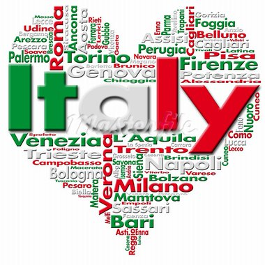Written Italy and Italian cities with heart-shaped, Italian flag colors Stock Photo - Royalty-Free, Artist: catalby                       , Code: 400-05744968