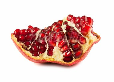 Part of ripe pomegranate isolated on white background Stock Photo - Royalty-Free, Artist: Mbongo                        , Code: 400-05745122