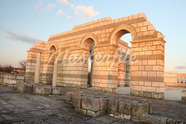 The Great Basilica at the first Bulgarian capital, Pliska , at sunset Stock Photo - Royalty-Free, Artist: allx                          , Code: 400-05745222