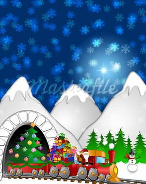 Santa Claus and Reindeer Delivering Gifts in Red Train with Snowman and Christmas Tree  in Winter Scene Illustration Stock Photo - Royalty-Free, Artist: jpldesigns                    , Code: 400-05745421
