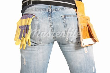 workers butt with gloves on white Stock Photo - Royalty-Free, Artist: boomerang311                  , Code: 400-05745458