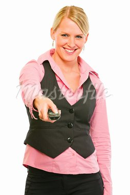 Happy modern business woman with TV remote control in hand   Stock Photo - Royalty-Free, Artist: citalliance                   , Code: 400-05745893
