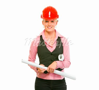 Portrait of modern architect woman with flipcharts in hands   Stock Photo - Royalty-Free, Artist: citalliance                   , Code: 400-05745908