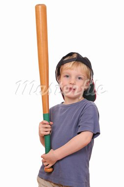 Portrait of a young baseball player holding a bat and wearing a cap Stock Photo - Royalty-Free, Artist: pahham                        , Code: 400-05745966