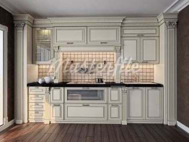 luxury kitchen interior (3D rendering) Stock Photo - Royalty-Free, Artist: vicnt                         , Code: 400-05746481