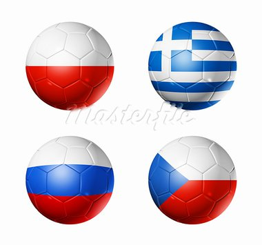 3D soccer balls with group A teams flags. UEFA euro football cup 2012. isolated on white Stock Photo - Royalty-Free, Artist: daboost                       , Code: 400-05747258