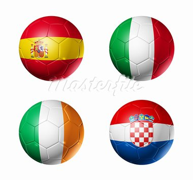 3D soccer balls with group C teams flags. UEFA euro football cup 2012. isolated on white Stock Photo - Royalty-Free, Artist: daboost                       , Code: 400-05747262
