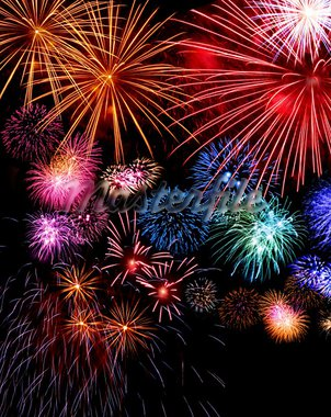 Big fireworks festive display collection against dark sky background Stock Photo - Royalty-Free, Artist: Anterovium                    , Code: 400-05747558