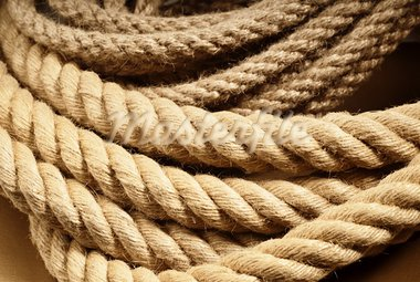 Brown linen boat ropes from natural fiber Stock Photo - Royalty-Free, Artist: gorgev                        , Code: 400-05747571
