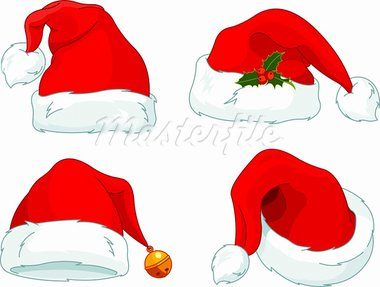Set of Santa Claus  hat collection Stock Photo - Royalty-Free, Artist: Dazdraperma                   , Code: 400-05747864
