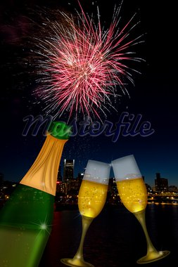 Champagne Toast Bottle and Glass Flutes with Portland Oregon City Skyline and Fireworks Illustration Stock Photo - Royalty-Free, Artist: jpldesigns                    , Code: 400-05748811