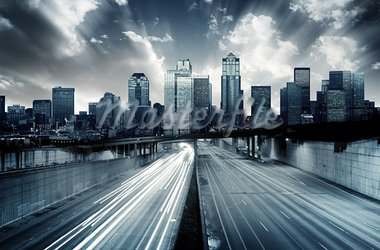 Futuristic Cityscape with blue tint Stock Photo - Royalty-Free, Artist: kwest                         , Code: 400-05749280