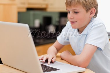 Lovely boy using a laptop in kitchen Stock Photo - Royalty-Free, Artist: 4774344sean                   , Code: 400-05749515
