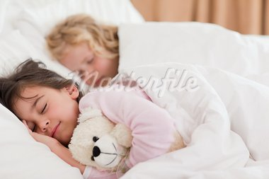 Quiet siblings sleeping in a bedroom Stock Photo - Royalty-Free, Artist: 4774344sean                   , Code: 400-05749821