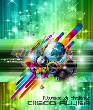 Poster Background for music international disco event with rainbow colours, abstract design elements and a lot of stars! Stock Photo - Royalty-Free, Artist: DavidArts                     , Code: 400-05750373