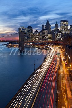 Image of Manhattan and busy highway leading to the city. Stock Photo - Royalty-Free, Artist: rudi1976                      , Code: 400-05750559
