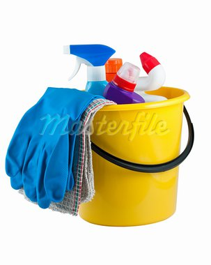 Yellow bucket with cleaning supplies isolated on white background Stock Photo - Royalty-Free, Artist: Mbongo                        , Code: 400-05750622