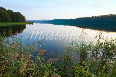 Autumn misty evening lake with grove on shore Stock Photo - Royalty-Free, Artist: Yuriy                         , Code: 400-05750723