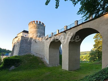 Evening  historic medieval Sternberk Castle in Czech Republic ( central Bohemia, near Prague ) Stock Photo - Royalty-Free, Artist: Yuriy                         , Code: 400-05750730
