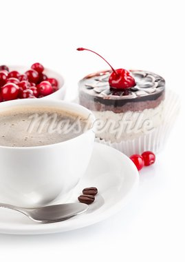 coffee with chocolate cake isolated on white background Stock Photo - Royalty-Free, Artist: yasonya                       , Code: 400-05750857