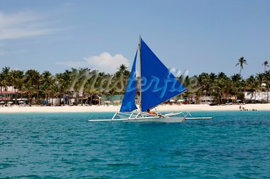 Traditional Philippine boat in a gulf. Island Boracay Stock Photo - Royalty-Free, Artist: Friday                        , Code: 400-05751318