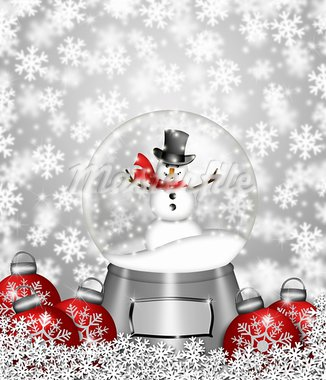 Water Snow Globes with Snowman Snowflakes and Christmas Tree Ornaments Illustration Stock Photo - Royalty-Free, Artist: jpldesigns                    , Code: 400-05751363