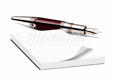 memo pad and pen Stock Photo - Royalty-Free, Artist: razihusin                     , Code: 400-05751431