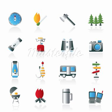Camping, travel and Tourism icons - vector icon set Stock Photo - Royalty-Free, Artist: stoyanh                       , Code: 400-05751613