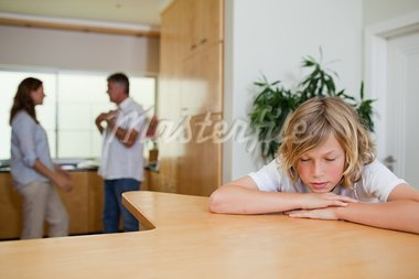 Sad boy has to listen to his fighting parents Stock Photo - Royalty-Free, Artist: 4774344sean                   , Code: 400-05751689
