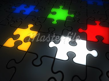 Glowing colorful jigsaw pieces: red, white, yellow, green and blue. Stock Photo - Royalty-Free, Artist: mjaud                         , Code: 400-05752662