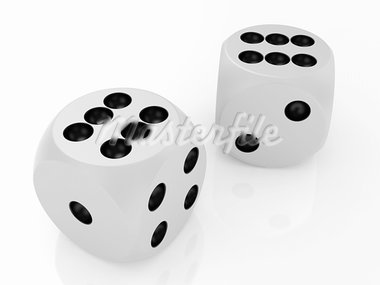3d illustration of two white dices Stock Photo - Royalty-Free, Artist: kotist                        , Code: 400-05752732