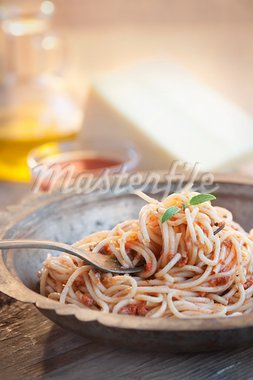 Spaghetti bolognese. Pasta with meat and tomato sauce. Traditional italian dish Stock Photo - Royalty-Free, Artist: mythja                        , Code: 400-05752756