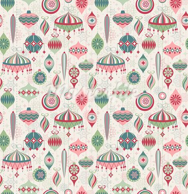 Christmas seamless retro pattern. Vector illustration Stock Photo - Royalty-Free, Artist: avian                         , Code: 400-05752762